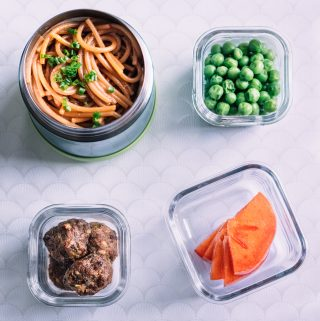 Ginger-Soy Pasta + Korean Meatballs