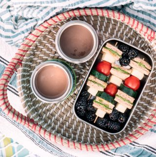 Pesto Sandwich Skewers for End-of-year picnic at the Beach