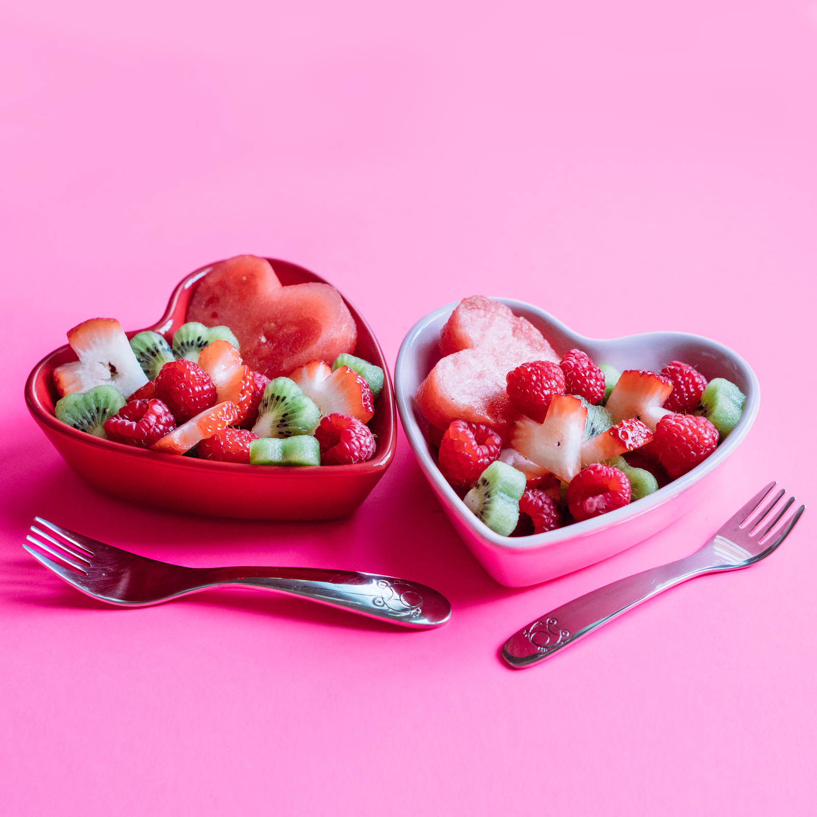 Colorful hearts fruit bowls