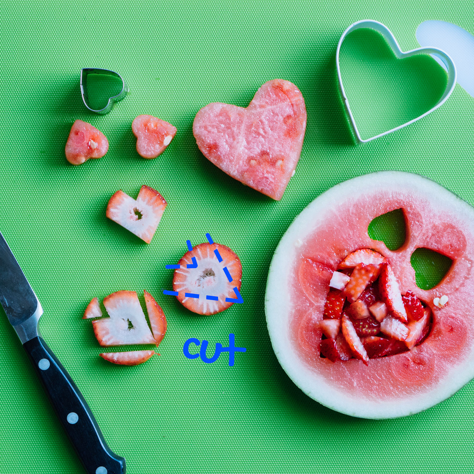 how to cut hearts using a knife