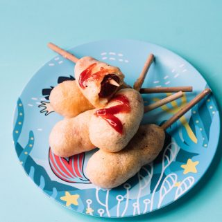 Super easy hot dog on a stick, a childhood favorite