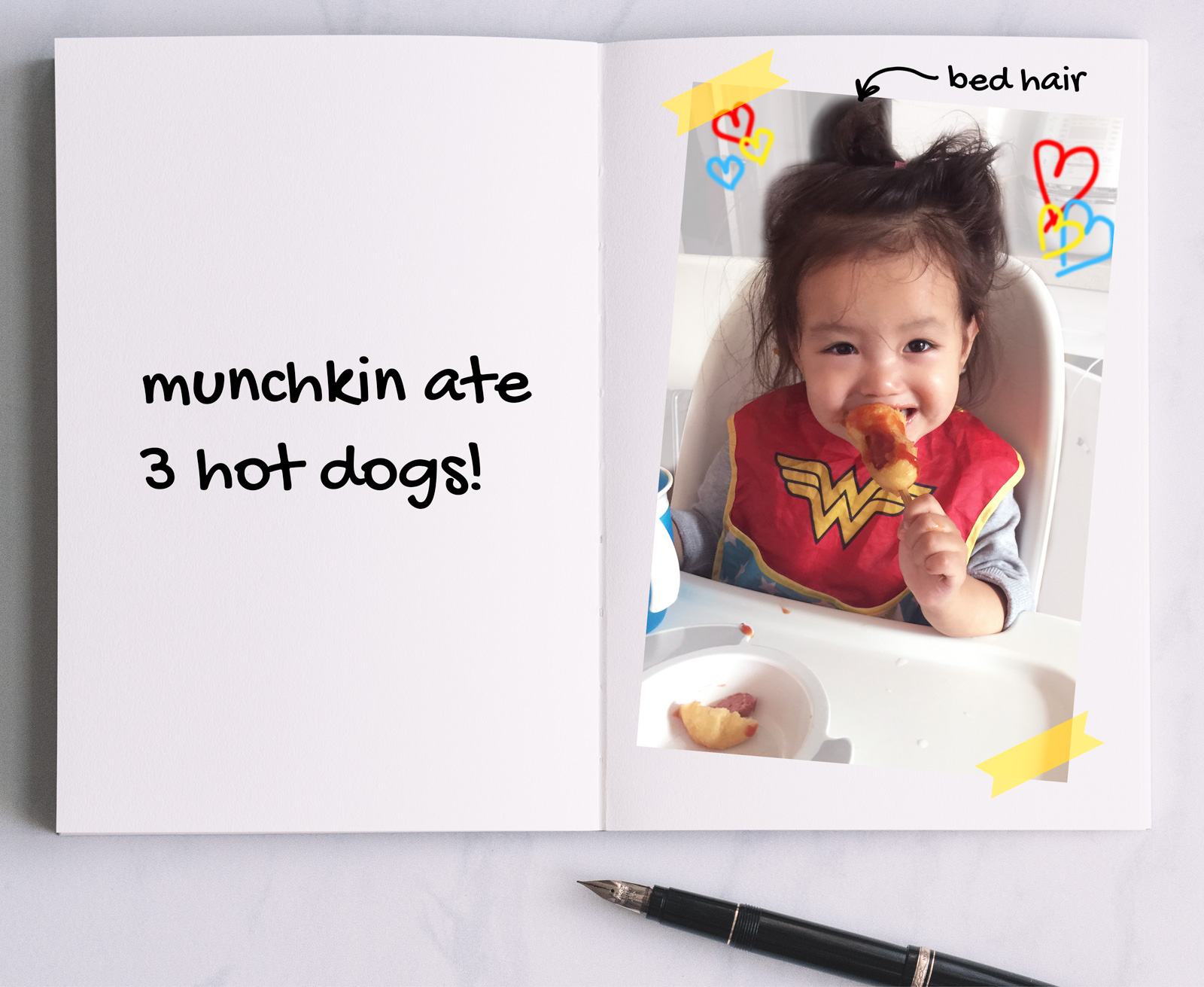 munchkin eating hot dog