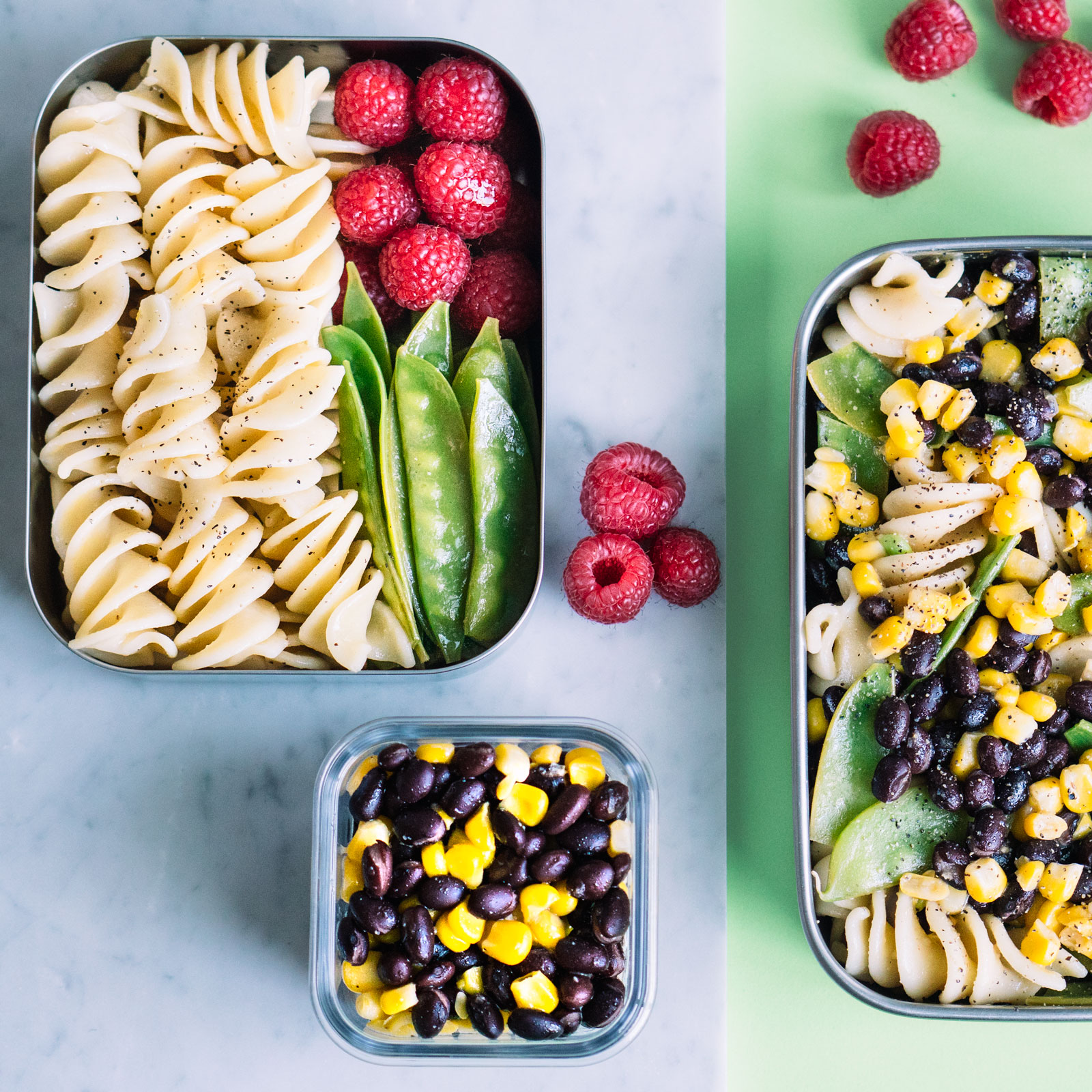 bean pasta salad in lunchbox
