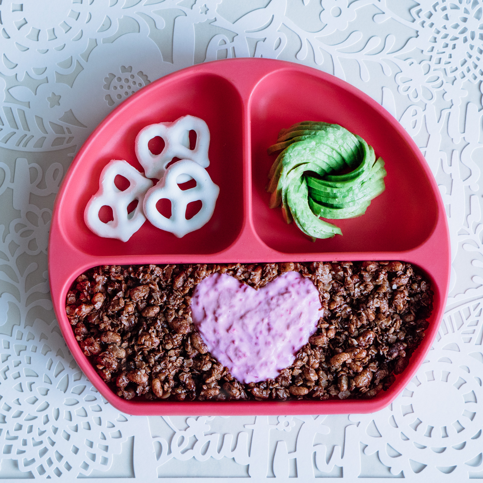 Valentine's day food art featuring Bumkins grip dish