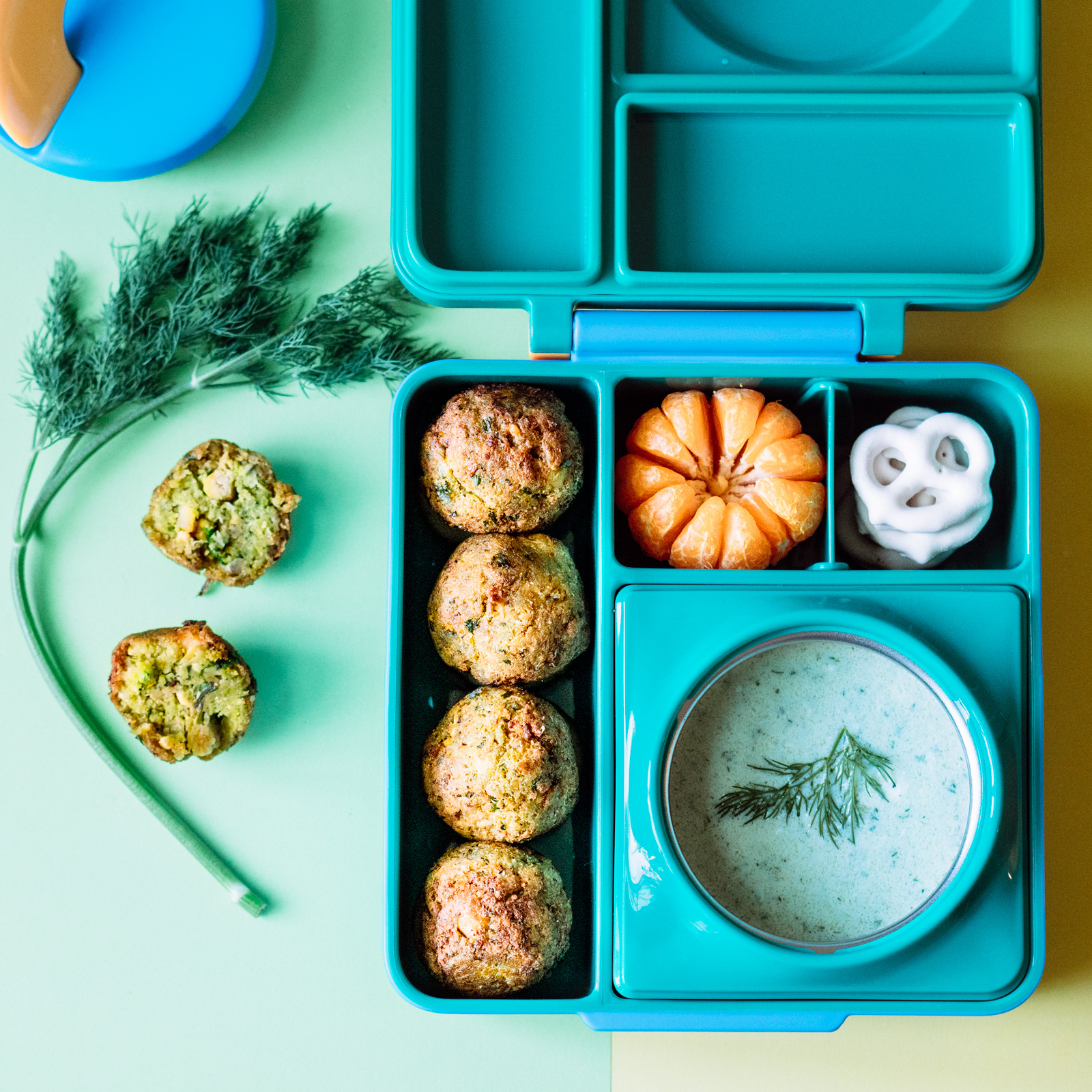 Cauliflower falafels in lunchbox