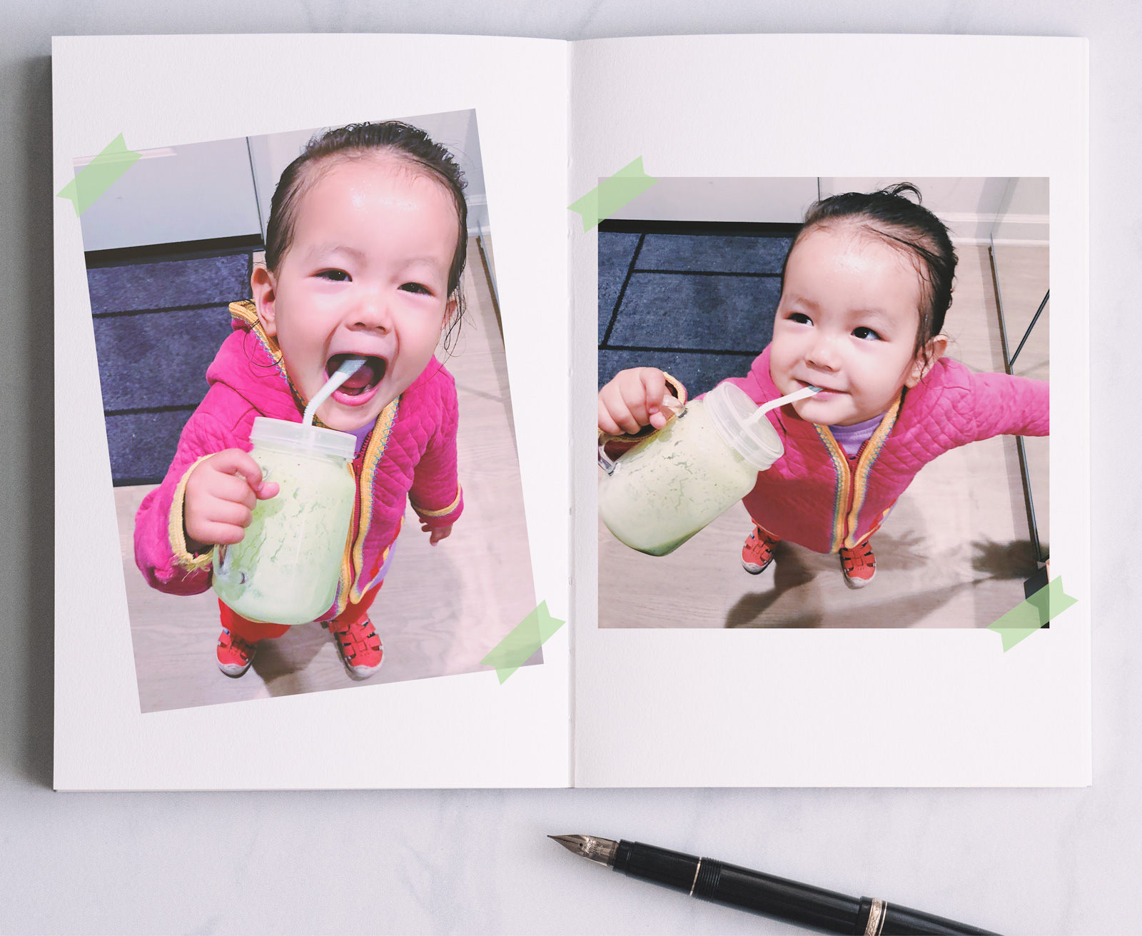 munchkin with green smoothie