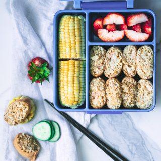 Pool day lunch box: Tuna rice in tofu pouches